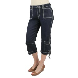 Ethyl Denim Cargo Capris - Side Ties (For Women) in Med Denim