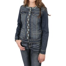 Ethyl Denim Jacket with Southwest Beading (For Women) in Medium Wash - Closeouts