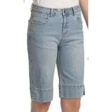 Ethyl Denim Touch of Bling Bermuda Shorts (For Women) in Bleached Denim - Closeouts