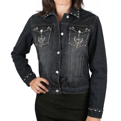 Ethyl Embellished Cross Denim Jacket (For Women) in Black Sanded