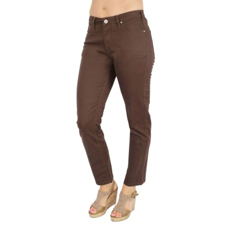 Ethyl Embroidered Ankle Pants - Stretch Cotton Twill, Skinny Leg (For Women) in Chocolate