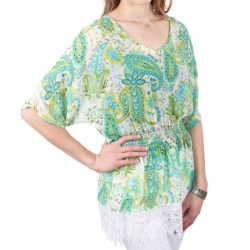 Ethyl Georgette Blouse - Batwing Short Sleeve (For Women) in Light Paisley