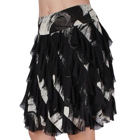 Ethyl Mesh Ruffled Skirt - Raw-Edge Hem (For Women) in Black/White