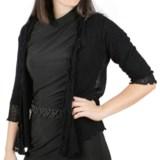 Ethyl Popcorn Stitch Cardigan Wrap - 3/4 Sleeve (For Women)