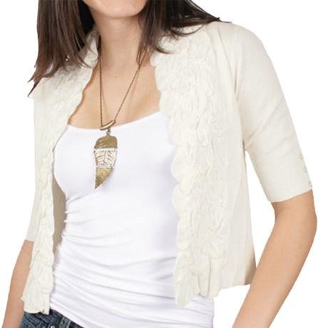 Ethyl Ruffled Open-Front Cardigan Sweater - 3/4 Sleeve (For Women) in Cream