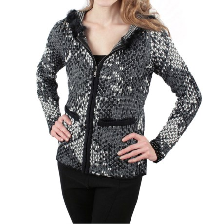 Ethyl Soft Knit Jacket - Faux Rabbit Fur Trim (For Women) in Black