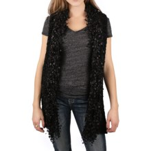 Ethyl Tasseled Knit Ribbon Vest (For Women) in Black - Closeouts