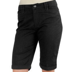 Ethyl Twill Bermuda Shorts - Rolled Cuffs (For Women) in Putty