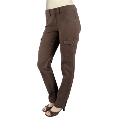Ethyl Twill Cargo Ankle Pants (For Women) in Chocolate