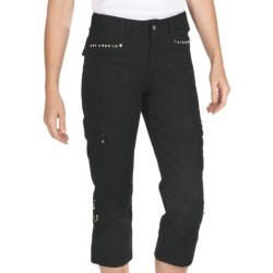Ethyl Twill Cargo Capris - Bling (For Women) in Black