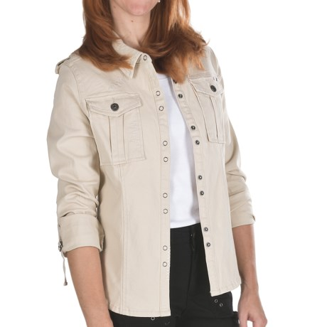 Ethyl Twill Shirt Jacket - Stretch Cotton, Long Sleeve (For Women) in Tan