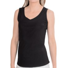 Ethyl V-Neck Lined Mesh Tank Top (For Women) in Black - Closeouts