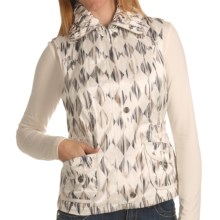 Ethyl Watercolor Vest - Crush Collar (For Women) in White W/Dimond Print - Closeouts