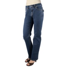 Euro Bootcut Denim Jeans - Embroidered Flap Back Pocket (For Women) in Medium Wash - Closeouts