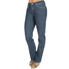 Euro Embellished Washed Denim Jeans - Straight Leg (For Women) in Denim - Closeouts