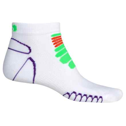 Eurosock 5K Silver Running Socks - Below the Ankle (For Men and Women) in White/Green - Closeouts