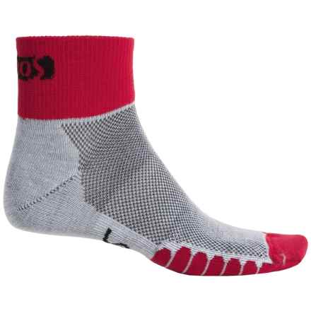 Eurosock Cycle Cool Socks - Quarter Crew (For Men and Women) in Red - Closeouts