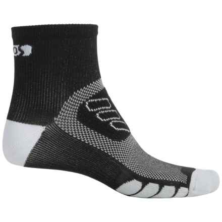 Eurosock Cycle Silver Socks - Quarter Crew (For Men and Women) in Black/White - Closeouts