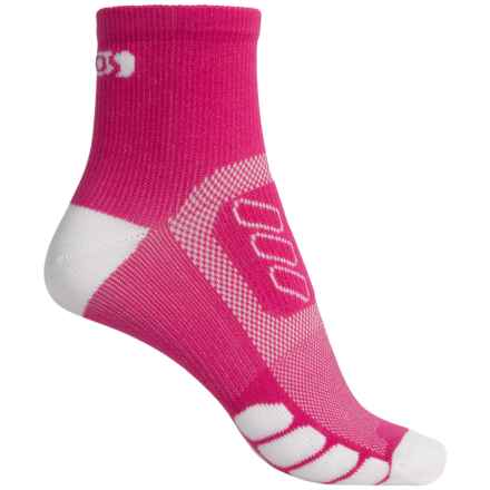Eurosock Cycle Silver Socks - Quarter Crew (For Men and Women) in Pink/White - Closeouts