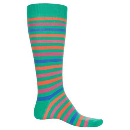 Eurosock Flakes and Stripes Ski Socks - Over the Calf (For Men and Women) in Lime - Closeouts