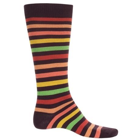 Eurosock Flakes and Stripes Ski Socks - Over the Calf (For Men and Women) in Purple