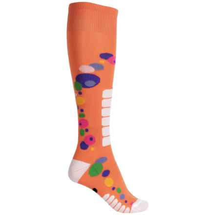 Eurosock Free Style Silver Ski Socks - Over the Calf (For Women) in Orange - Closeouts