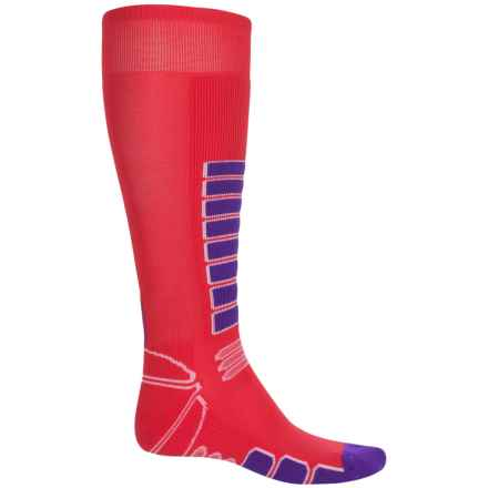 Eurosock Silver Streif Ski Socks - Over the Calf (For Men and Women) in Red - Closeouts
