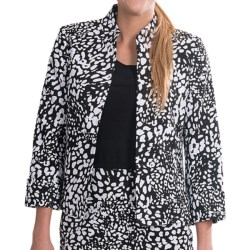 Evan Picone Cuffed Open Front Jacket (For Women) in Whtie/Black