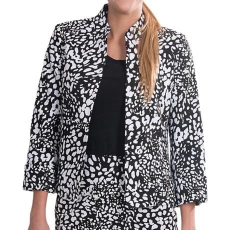 Evan Picone Cuffed Open Front Jacket (For Women) in Whtie/Black
