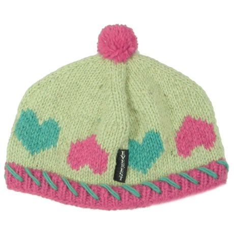 Everest Designs Hearts Beanie - Wool (For Kids) in Green c286252a0e52