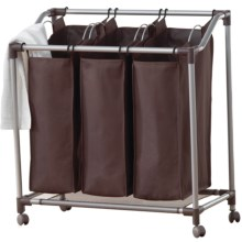 everfresh® Deluxe Triple Laundry Sorter in Spanish Brown/Silver - Overstock