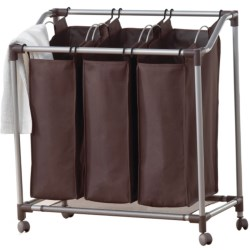 everfresh® Deluxe Triple Laundry Sorter in Spanish Brown/Silver