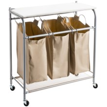 everfresh® Triple Laundry Sorter with Iron Board in Sand Pebble Taupe - Overstock