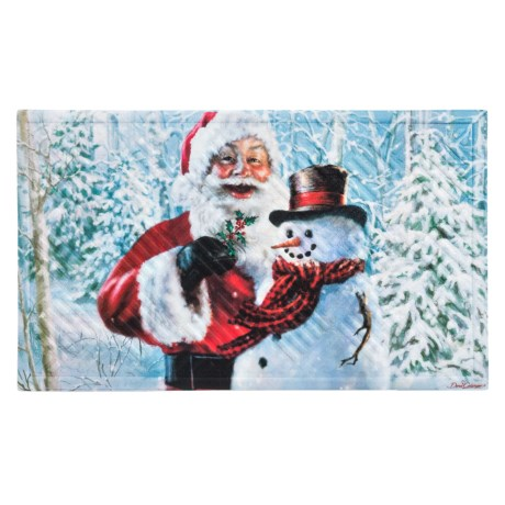 """Evergreen Embossed Holiday Doormat - 18x30"""" in Santa And Frosty"""