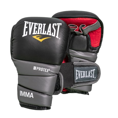 Everlast Protex 3 MMA Gloves - Leather, Large in Black/Grey