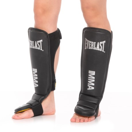Everlast Te:SM Elite Grappling MMA Shin-Instep Guards - Leather in Black