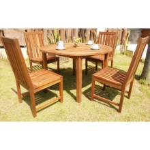 "Everlasting Acacia 48"" Round Dining Set - 5-Piece, Wood in Natural - Closeouts"