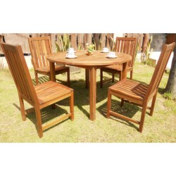 "Everlasting Acacia 48"" Round Dining Set - 5-Piece, Wood in Natural"