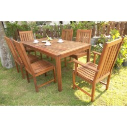 "Everlasting Acacia 70"" Rectangle Dining Set - 7-Piece, Wood in Natural"