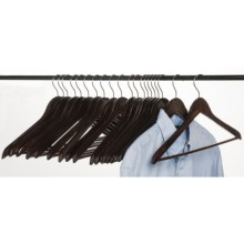 Everyday Essentials Wood Clothes Hangers with Pant Bar - 20-Pack in Dark - Closeouts