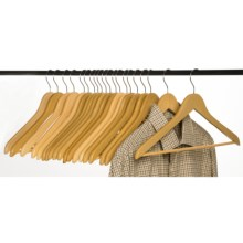 Everyday Essentials Wood Clothes Hangers with Pant Bar - 20-Pack in Natural - Closeouts