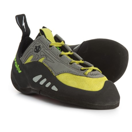 Evolv Geshido Climbing Shoes - Lace-Ups (For Big Kids) in Lime/Grey