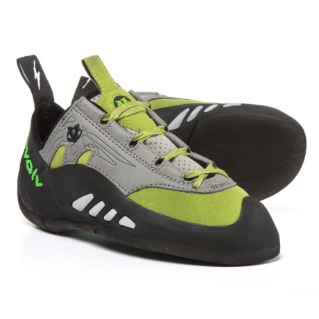 Evolv Geshido Lace Climbing Shoes - Suede (For Men and Women) in Lime/Grey