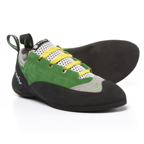 Evolv Spark Lace Climbing Shoes - Suede (For Men and Women) in Green/Grey