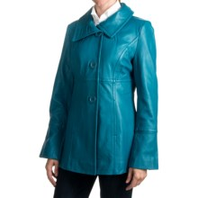 Excelled Funnel Neck Lambskin Jacket - Button Front (For Women) in Blue - Closeouts
