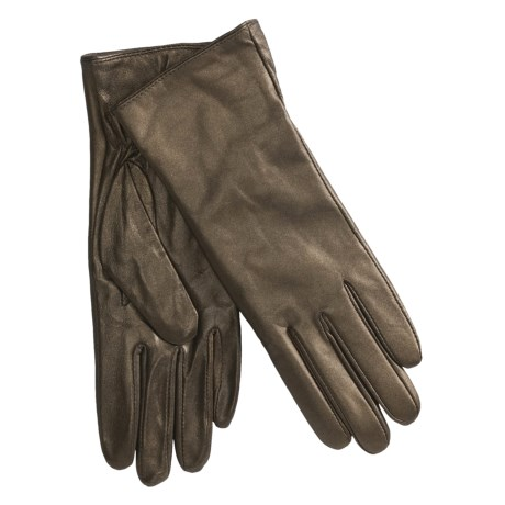 Excelled Lambskin Leather Gloves - Cashmere Lining (For Women) in Bronze