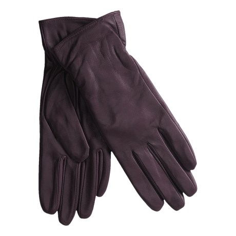 Excelled Lambskin Leather Gloves - Cashmere Lining (For Women) in Burgundy