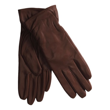 Excelled Lambskin Leather Gloves - Cashmere Lining (For Women) in Chestnut