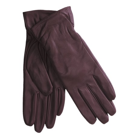 Excelled Lambskin Leather Gloves - Cashmere Lining (For Women) in Purple