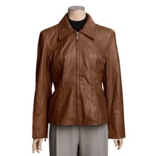 Excelled Leather Scuba Jacket - Zip Front (For Women) in Brown - Closeouts